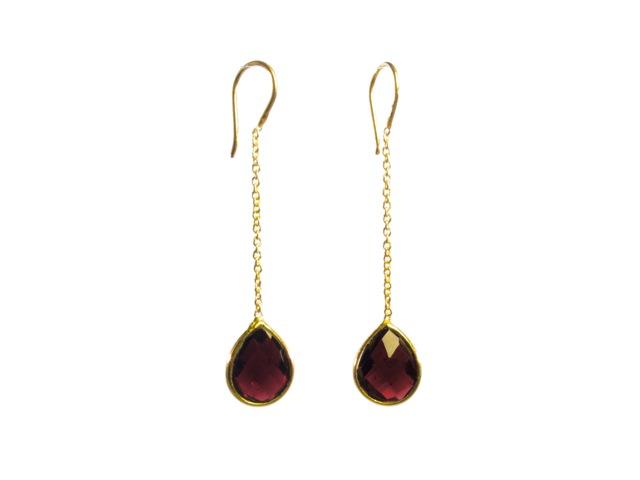 Chainlet Earring With Facet Cut Garnet – E9546