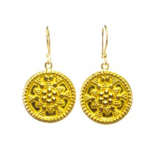Gold Plated Big Coin Earring Asian Etruscan – E1050