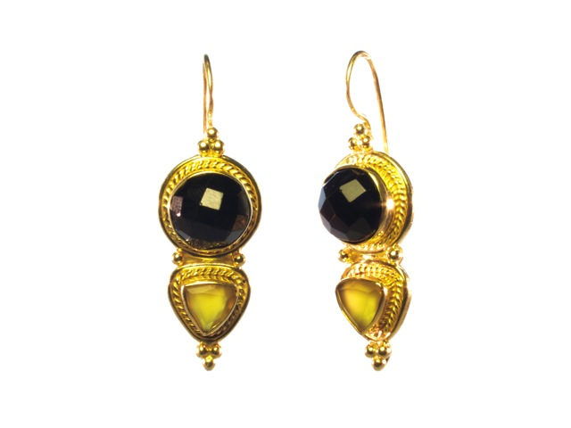 Asian Etruscan Black And Yellow Onyx Earrings – E8917