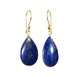 Tear Drop Earrings Cabochon Cut Lapis Lazuli – E1415