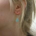 Chalcedoon facet geslepen druppels zilver oorhangers E1290