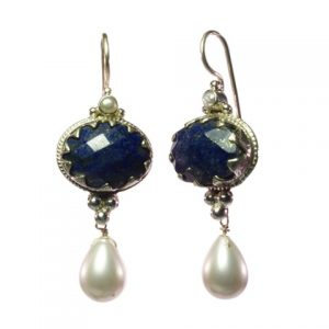 Antique Replica Boho Chic Earring Lapis Lazuli And Pearl – E1302