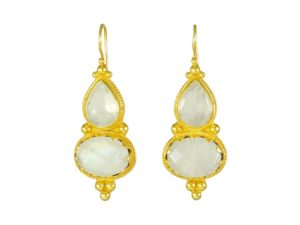 Etruscan Long Earring Rose Quarts And Moonstone – E1317