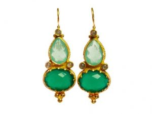 Etruscan Long Earring Chalcedony, Green Onyx And Labradorite – E1317