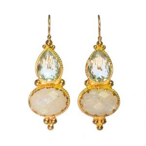 Etruscan Long Earring Aqua Zircon And Moonstone – E1317