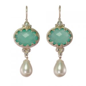Antique Earring Chalcedony And Pearl – E1302
