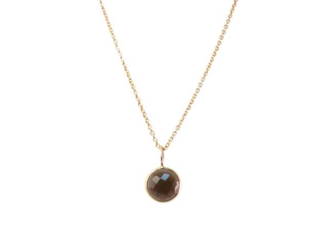 Gold Pendant Smokey Topaz Round Drop In A Fine Setting – P1005