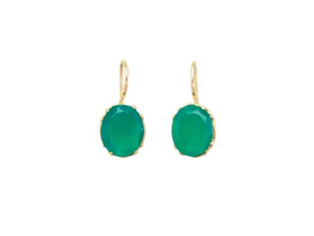 Klasieke oorbel dicht onder je oor met een groene onyx E9509
