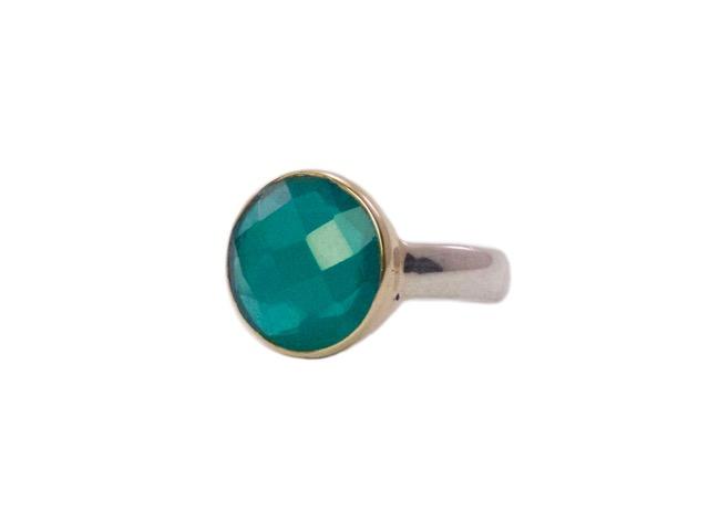 Checkar cut groene onyx ring R8910