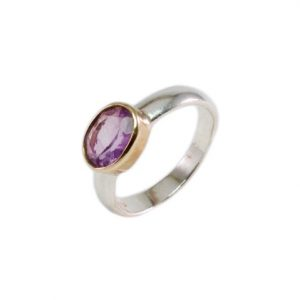 Ring With Oval Facet Cut Small Amethyst – R9501