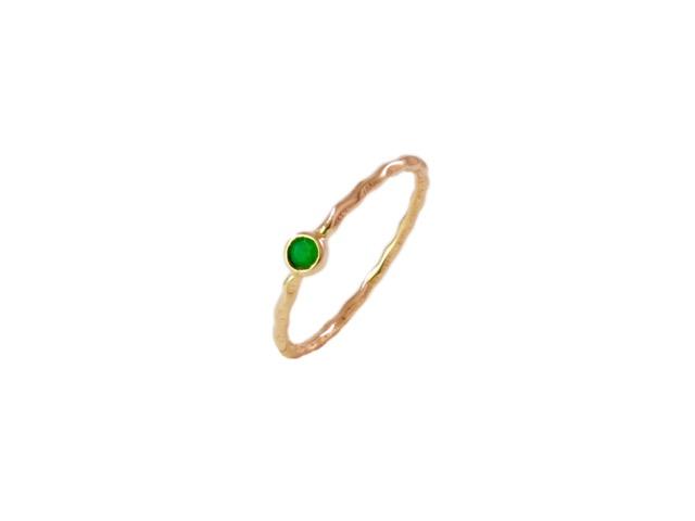 Emerald 14k Gold Fine Thin Skinny Ring – R1555