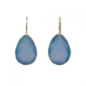 Silver Earring Blue Chalcedony Drops In Setting – E7703