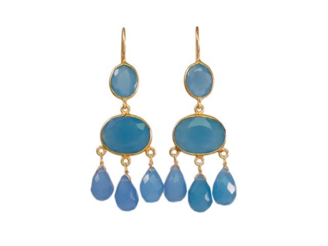 Gabrielle D'Estree Earrings Blue Chalcedony – E1047