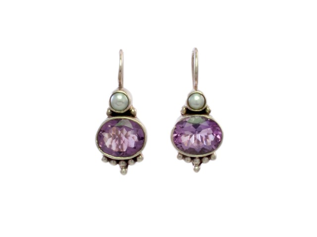 Silver Earring Oval Amethyst With Pearl – E3012