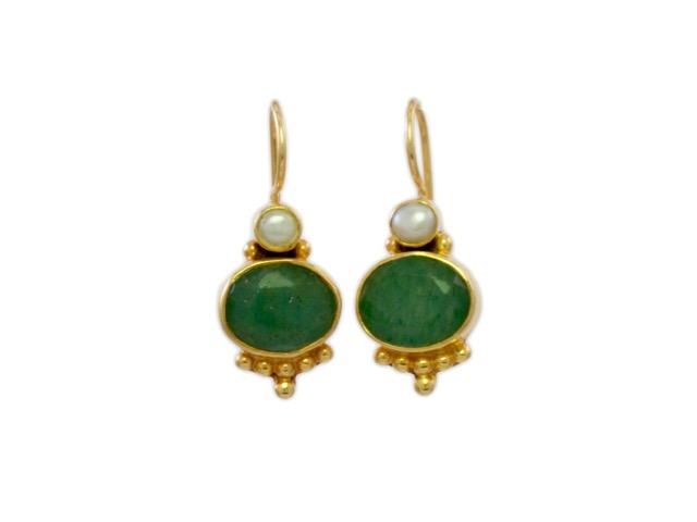 Antieke replica oorhangers jade E3012