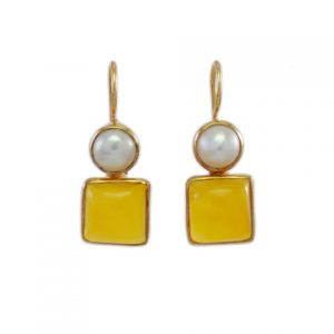 Classic Earring Yellow Onyx And Pearl – E7707