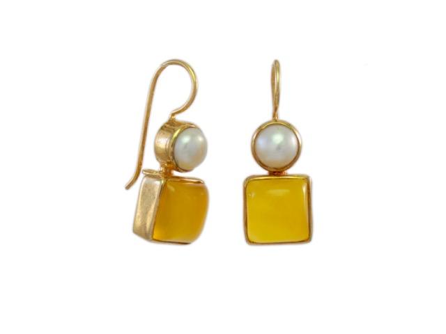 Klassieke oorhangers parel en gele onyx E7707-V