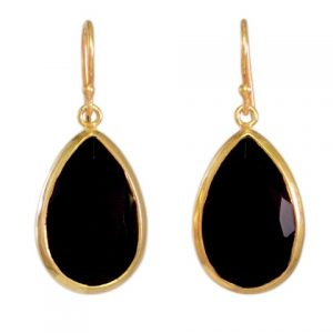 Earrings Black Onyx Teardrops With Setting – E6913