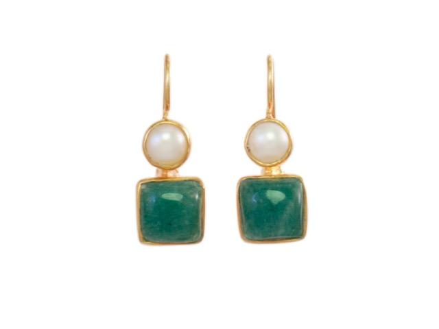 Klassieke oorhangers parel en jade E7707-V