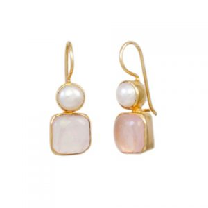 Classic Earring Rose Quarts And Pearl – E7707