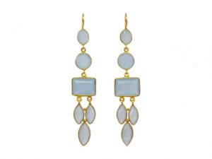 Long Gemstone Earrings With Blue Chalcedony – E1048
