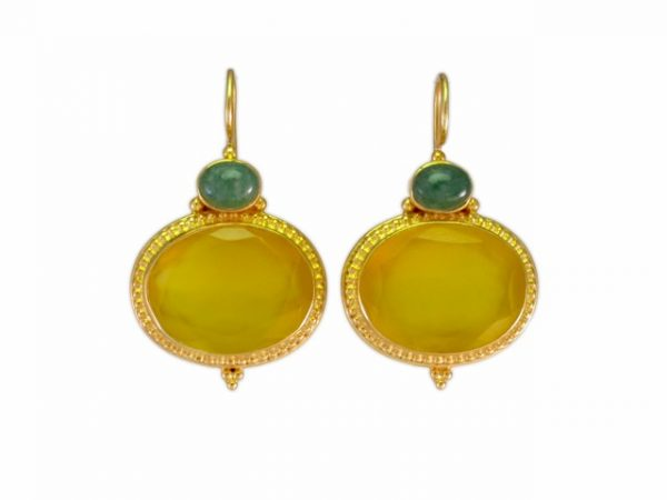 Gele onyx and jade in Etruskische setting E9516