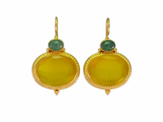 Etruscan Earring Yellow Onyx And Jade – E9516