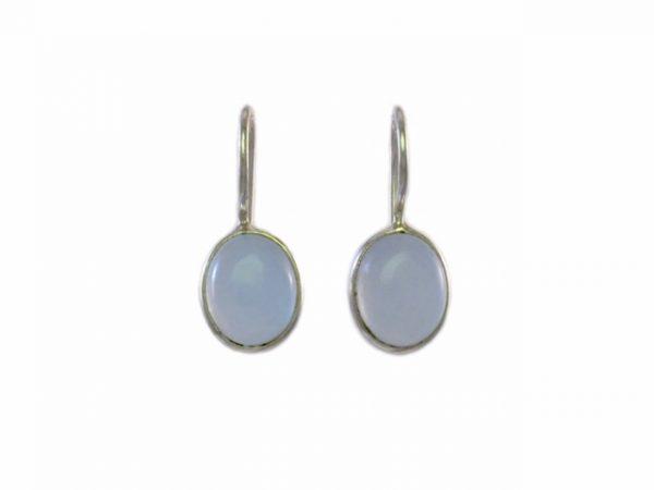 Kleine simpele oorhangers blauwe chalcedoon E8315