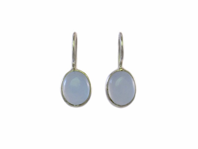 Small Silver Earrings Cabochon Blue Chalcedony – E8315