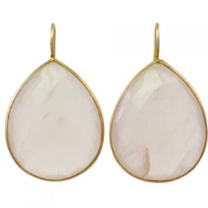 Big Fat Gemstone Rose Quartz Drops In A Fine Setting – E1196