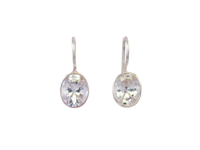Small Silver Earrings Facet Zircon – E8315