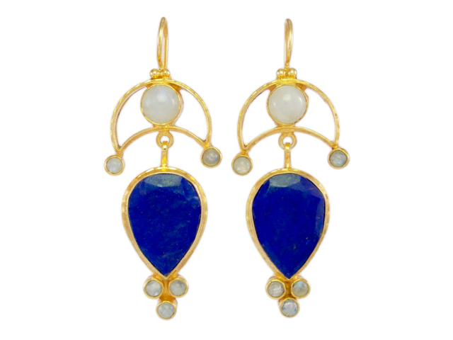 Ottoman Long Earring Lapis Lazuli And Moonstone – E8905