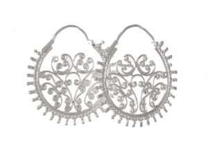 Filigree Silver Hoop Earrings – E7711
