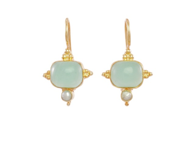 Asian Etruscan Earrings Chalcedony And Pearl – E1432