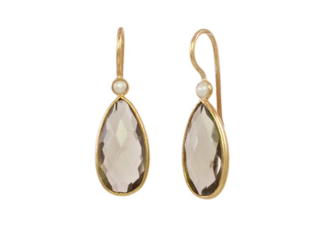 Smokey Topaz And Pearl Drop Earrings – E13114