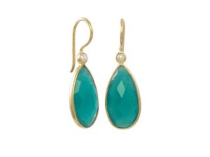 Green Onyx And Pearl Drop Earrings – E13114