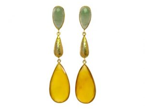 Long Studs Jade And Yellow Onyx  – E1384