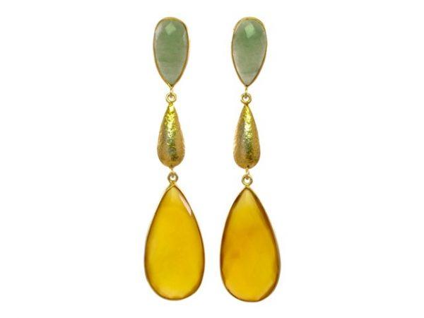 lange oorstekers jade en gele onyx E1384