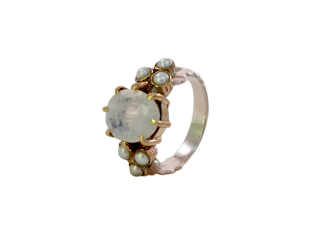 Romantic Moonstone Ring With Pearl – R15108