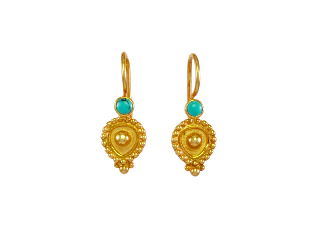 Etruscan Inspired Small Earring With Turquoise – E1602