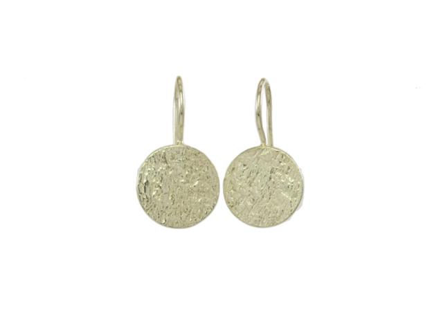 Rondje geslagen zilver oorhangers E1417
