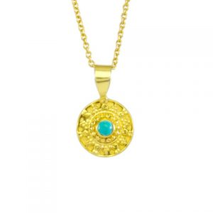 Etruscan Pendant With Turquoise – P1748
