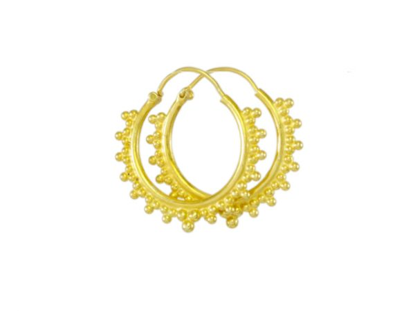 Gold plated silver Etruscan hoops E1640