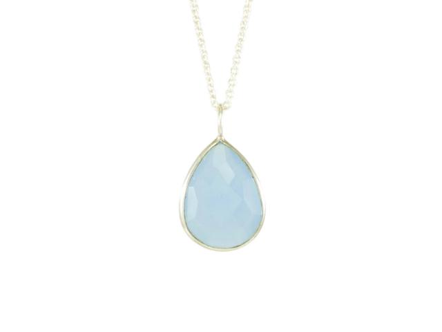 Silver Pendant Facet Cut Blue Chalcedony – P1008