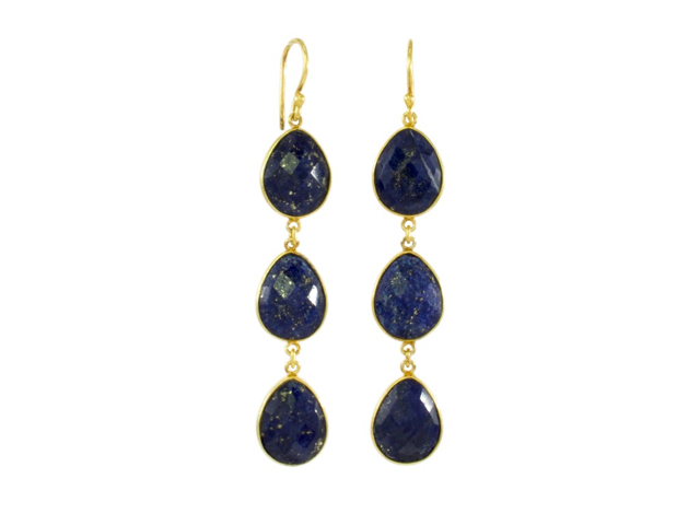 Earring Three Drops Lapis Lazuli In Fine Setting – E1362