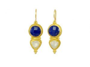 Asian Etruscan Lapis Lazuli And Moonstone Earrings – E8917