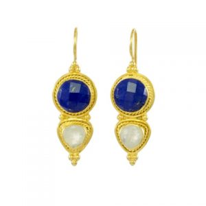 Asian Etruscan Lapis Lazuli And Moonstone Earrings – E8917