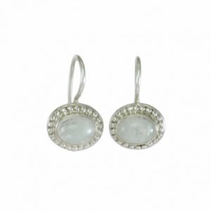 Oval Silver Moonstone Earrings – E1506