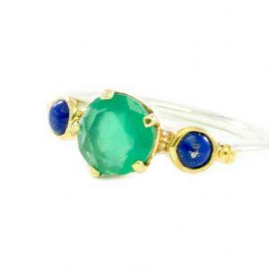 Skinny Ring Green Onyx Lapis Lazuli – R1655
