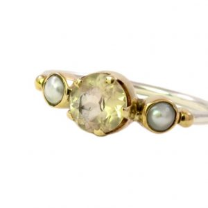 Skinny Ring Citrine And Pearl – R1655